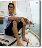 Man Smiling On Sailboat, Casco Bay Acrylic Print