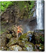 Man Standing On Rocks Near Waterfall Acrylic Print