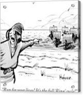 Man Standing On The Beach Screams As A Fleet Acrylic Print