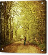 Man Walking  On A Lonely Country Road Acrylic Print