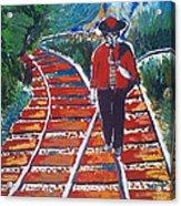Man Walking On Rails Acrylic Print