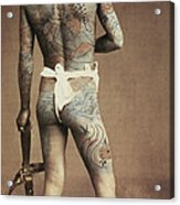 Man With Traditional Japanese Irezumi Tattoo Acrylic Print by Japanese Photographer