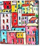 Manarola Colorful Houses Painting Detail Acrylic Print