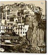 Manarola Italy Sepia Acrylic Print