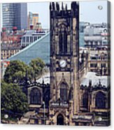Manchester Cathedral Acrylic Print by Anthony Bean