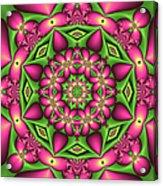 Mandala Green And Pink Acrylic Print