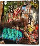Mangled Whistler Train Wreck Box Car Acrylic Print