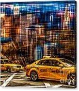 Manhattan - Yellow Cabs I Acrylic Print by Hannes Cmarits