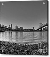 Manhattan And Brooklyn Bridge Fisheye Bw Acrylic Print