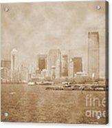 Manhattan And Liberty Island Vintage Acrylic Print