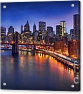 Manhattan At Dawn - Brooklyn Bridge Acrylic Print