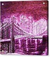 Manhattan At Night Enhanced Acrylic Print
