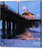 Manhattan Beach Pier Crashing Surf Acrylic Print