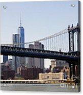 Manhattan Bridge And One Wtc Acrylic Print
