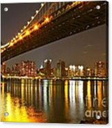 Manhattan Bridge By Night Acrylic Print
