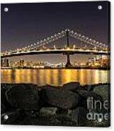 Manhattan Bridge Evening Reflections Acrylic Print
