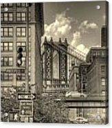 Manhattan Bridge Peeking Through Acrylic Print