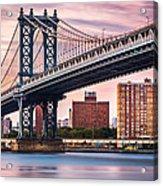 Manhattan Bridge Under A Purple Sunset Acrylic Print