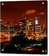 Manhattan Night Skyline Acrylic Print