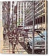 Manhattan On Map Acrylic Print