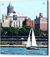 Manhattan - Sailboat Against Manhatten Skyline Acrylic Print