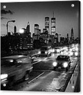 Manhattan Skyline Dusk 1980s Acrylic Print