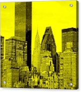 Manhattan Skyline In Yellow Acrylic Print