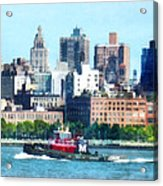 Manhattan - Tugboat Against Manhattan Skyline Acrylic Print