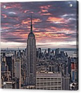 Manhattan Under A Red Sky Acrylic Print by Joachim G Pinkawa
