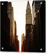Manhattanhenge Sunset And The Chrysler Building  Acrylic Print