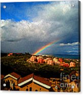 Spanish Landscape Rainbow And Ocean View Acrylic Print