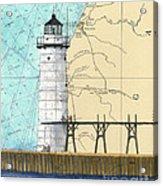 Manistee N Pierhead Lighthouse Mi Nautical Chart Map Art Acrylic Print
