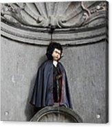 Manneken Pis In Brussels Dressed As Dracula Acrylic Print by Kiril Stanchev