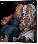 Mannequin Old Couple In Shop Window Display Color Photo Acrylic Print
