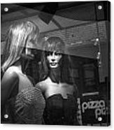 Mannequins In Storefront Window Display With Pizza Sign Acrylic Print