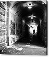 Man's Silhouette In Urban Tunnel Black And White Acrylic Print