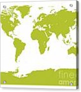 Map In Chartreuse Green Acrylic Print