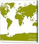 Map In Olive Green Acrylic Print