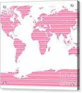 Map In Pink Stripes Acrylic Print