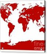 Map In Red Acrylic Print