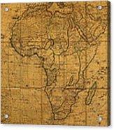 Map Of Africa Circa 1829 On Worn Canvas Acrylic Print