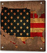 Map Of America United States Usa With Flag Art On Distressed Worn Canvas Acrylic Print