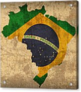 Map Of Brazil With Flag Art On Distressed Worn Canvas Acrylic Print