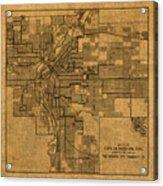 Map Of Denver Colorado City Street Railroad Schematic Cartography Circa 1903 On Worn Canvas Acrylic Print