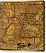 Map Of Denver Rio Grande Railroad System Including New Mexico Circa 1889 Acrylic Print