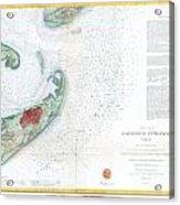 Map Of Galveston City And Harbor Texas Acrylic Print