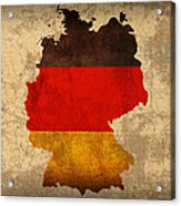 Map Of Germany With Flag Art On Distressed Worn Canvas Acrylic Print