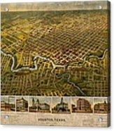 Map Of Houston Texas Circa 1891 On Worn Distressed Canvas Acrylic Print
