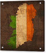 Map Of Ireland With Flag Art On Distressed Worn Canvas Acrylic Print