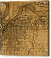 Map Of Kansas City Missouri Vintage Old Street Cartography On Worn Distressed Canvas Acrylic Print